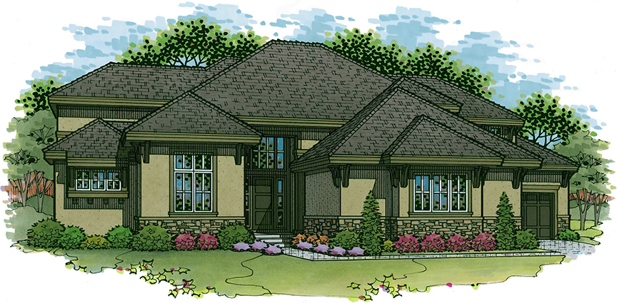 Silverton floor plan 1.5 story home in The Enclave at Terrybrook Farms