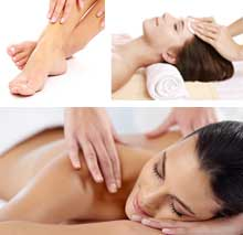 Three images which feature a soothing pedicure, a woman receiving a facial, and a woman receiving a Swedish Massage.