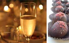 First picture is of two glasses of Champagne warmly lit with candle light. The second picture has a row of delicious chocolate truffles form local chocolatier Evolve.