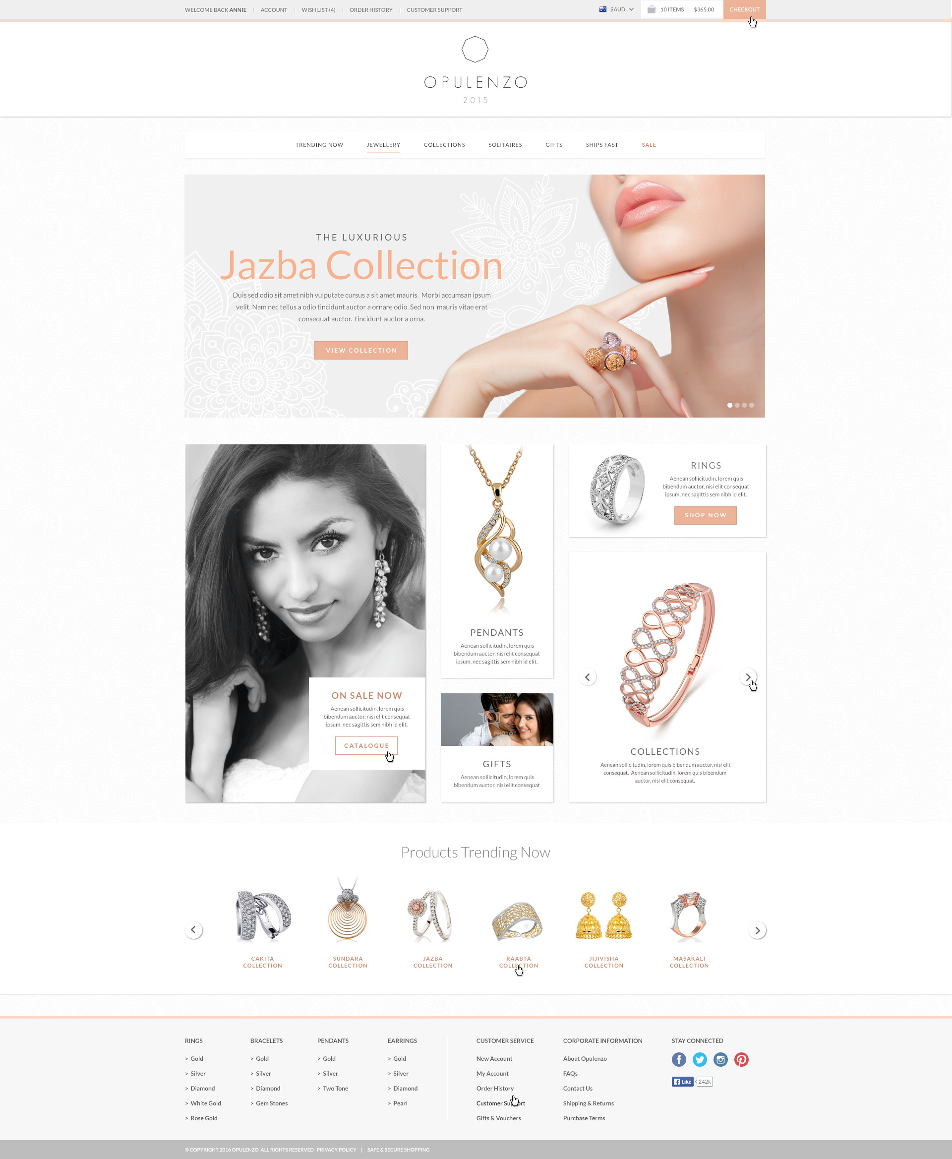 Website design concept for a boutique jewellery store
