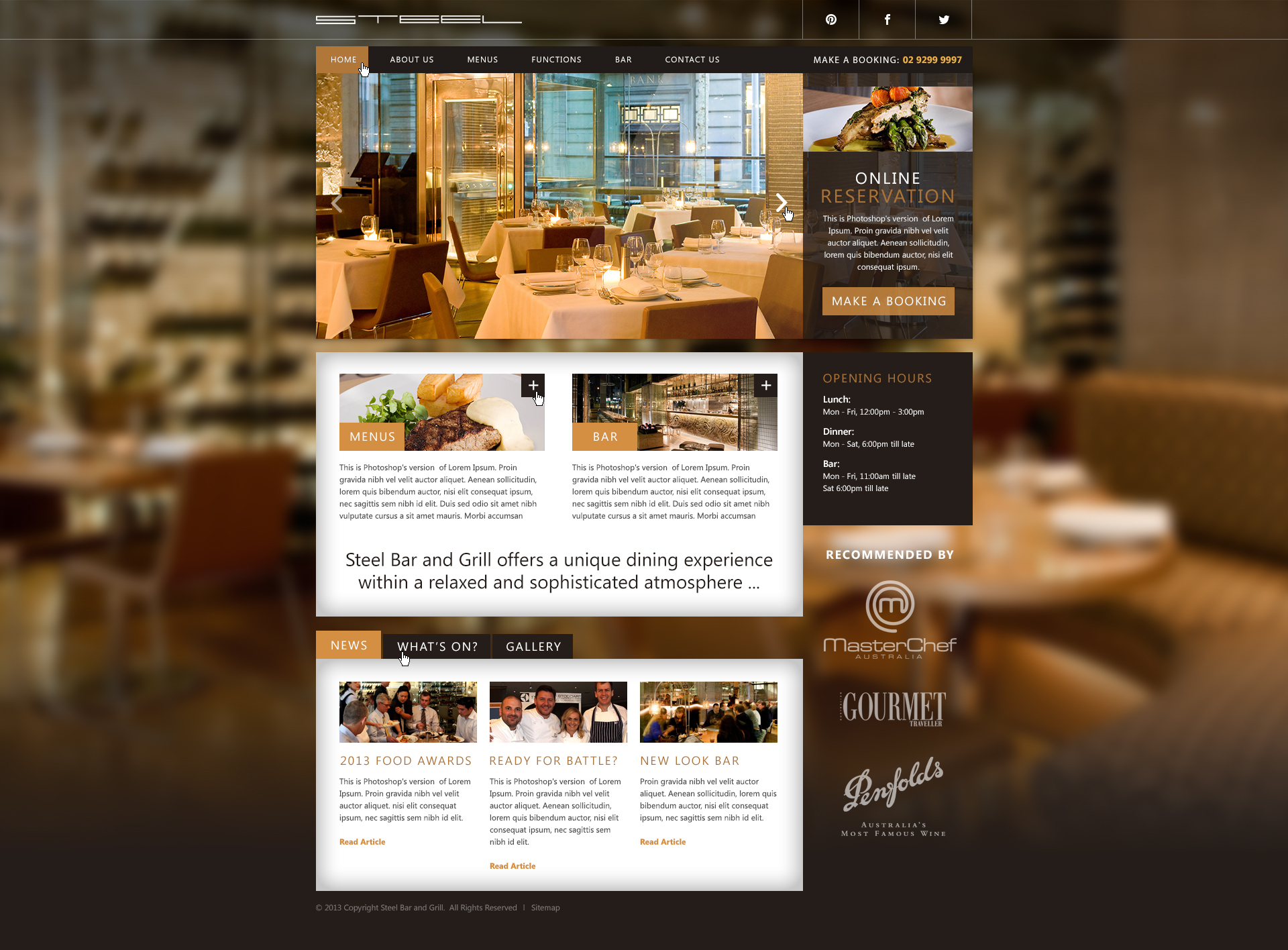 Website design concept for a gournet restaurant