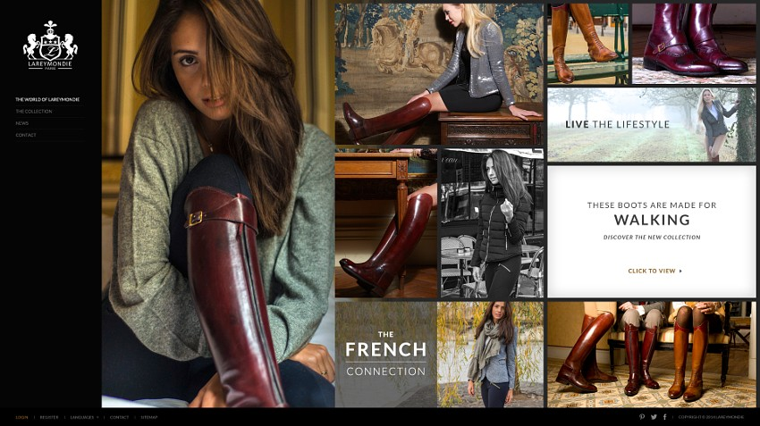 Website design concept for luxury leather footwear and accessories