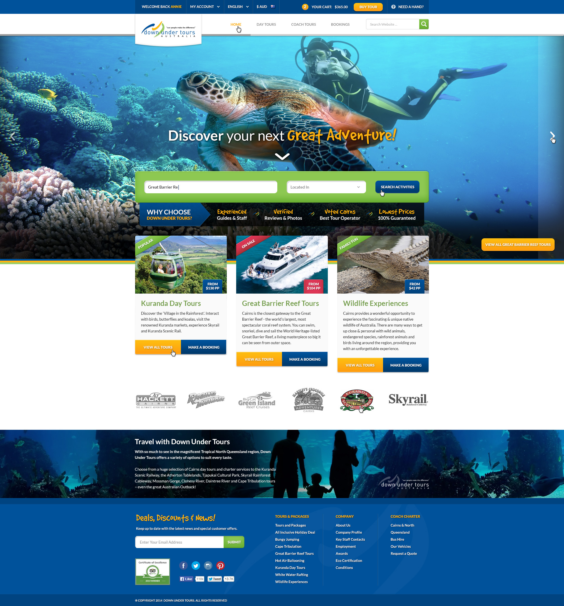 Website design concept for a Great Barrier Reef tour operator