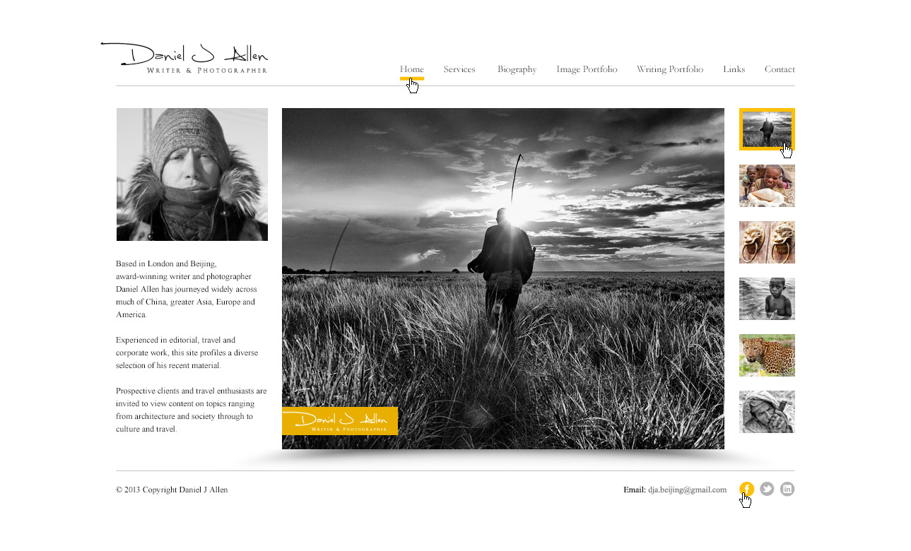 Website design concept for a photographer and journalist