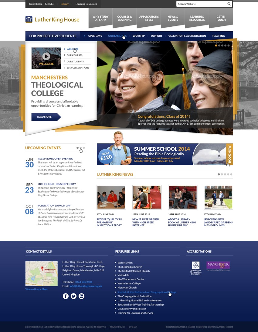 Website design concept for an educational college