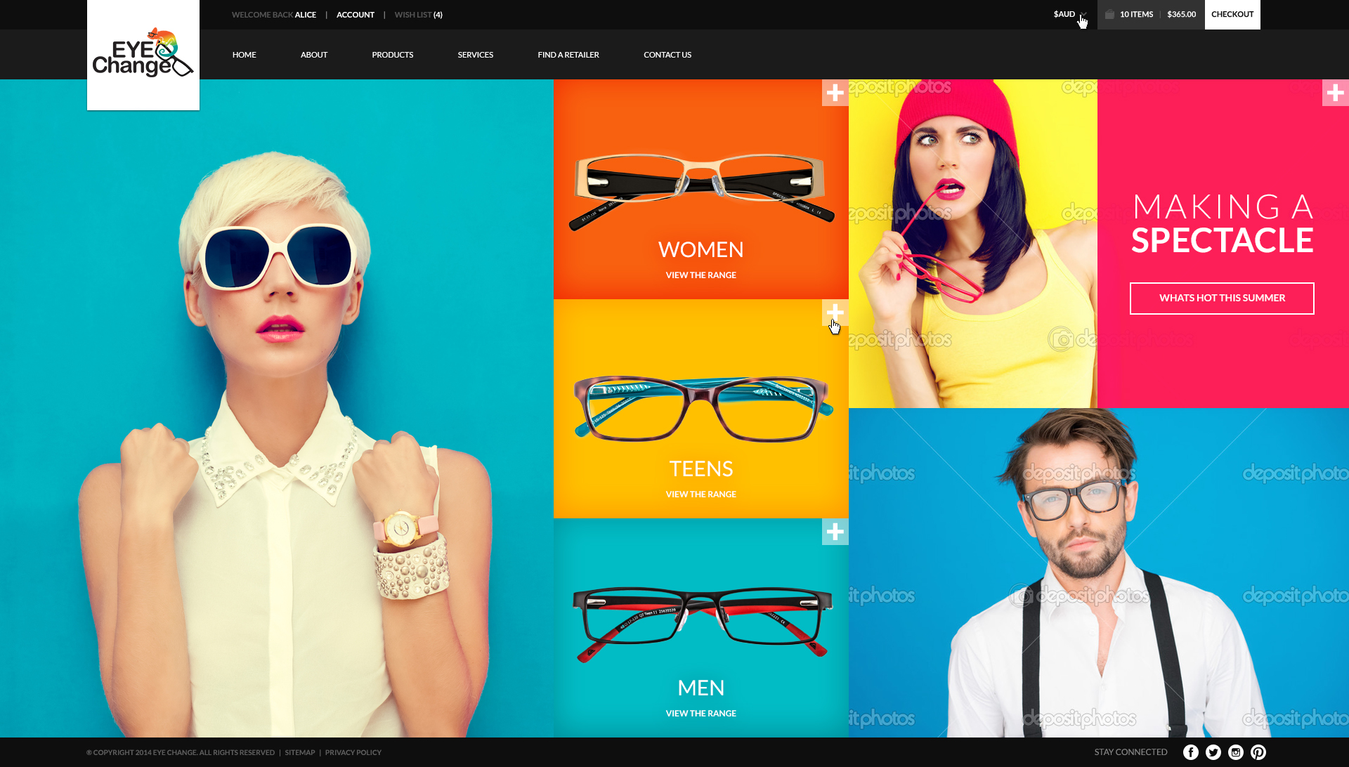 Website design concept for an optical eyewear specialist