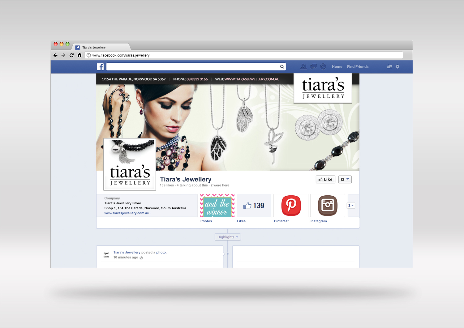 Social Media Designer in Adelaide  - Facebook design concept for jewellery store