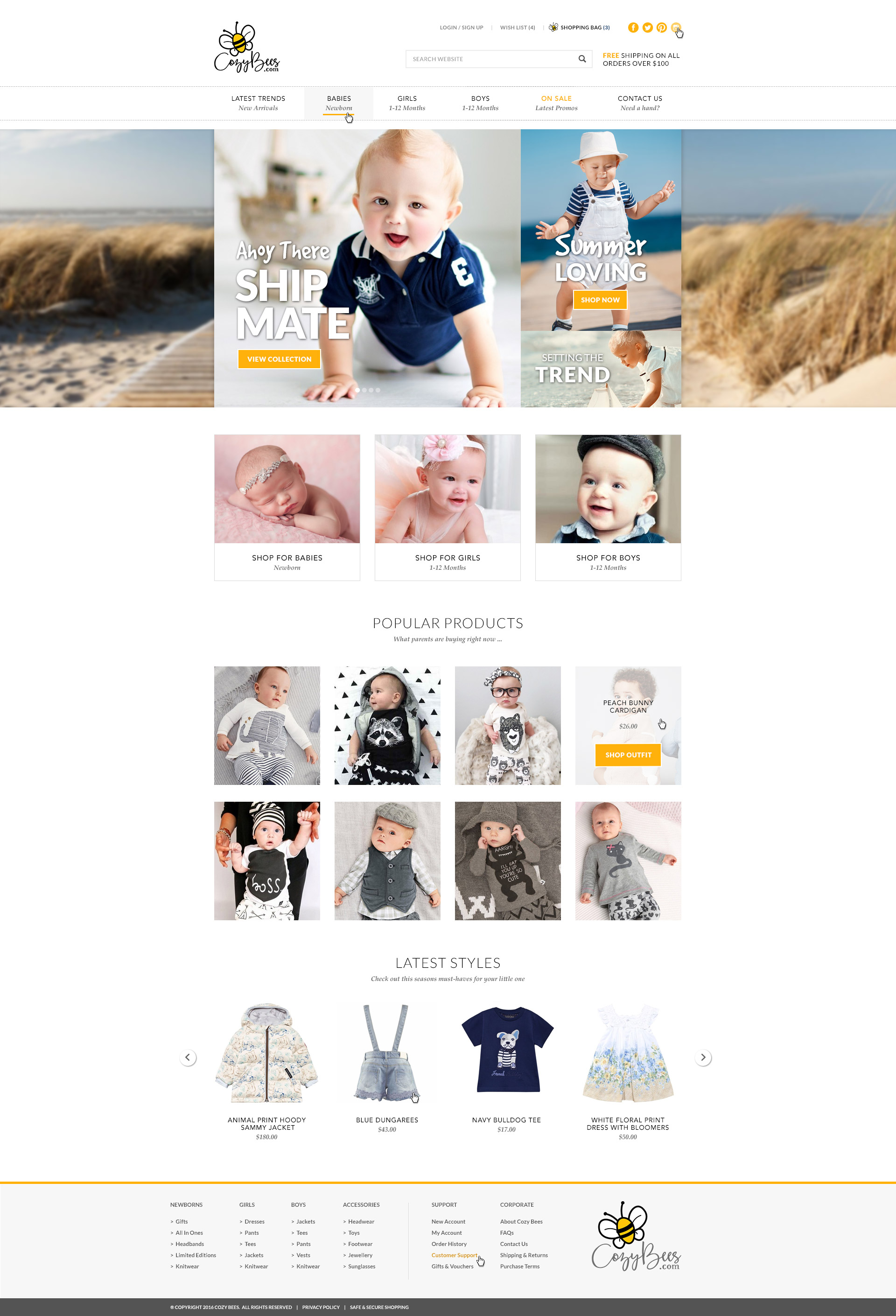 Website design concept for a baby clothing store