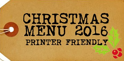 Xmas Party Menu 2016  - Printer Friendly