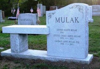 Headstone with attached bench