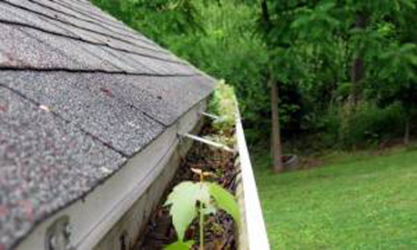 Clogged gutter ready for servicing by A&A Seamless Gutters, LLC