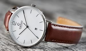 Example of an Obaku watch with a leather strap