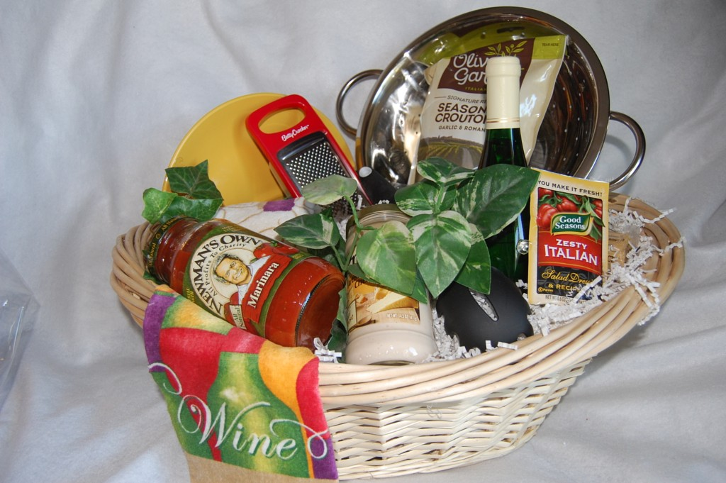 Gift baskets for business pasta party all the items needed for pasta night colander sauces kitchen towel pastas and add some wine this basket approx 50 negle Gallery