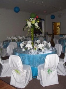 Decorated banquet hall tables