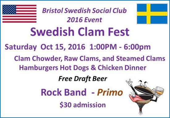 Bristol Swedish Social Club Clam Fest Oct. 15, 2016