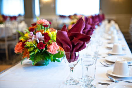 Colorful table setting in the banquet hall of the Manor Inn, Milldale, CT