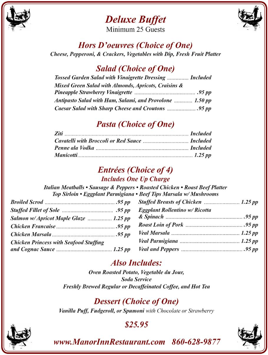 manor inn deluxe buffet menu