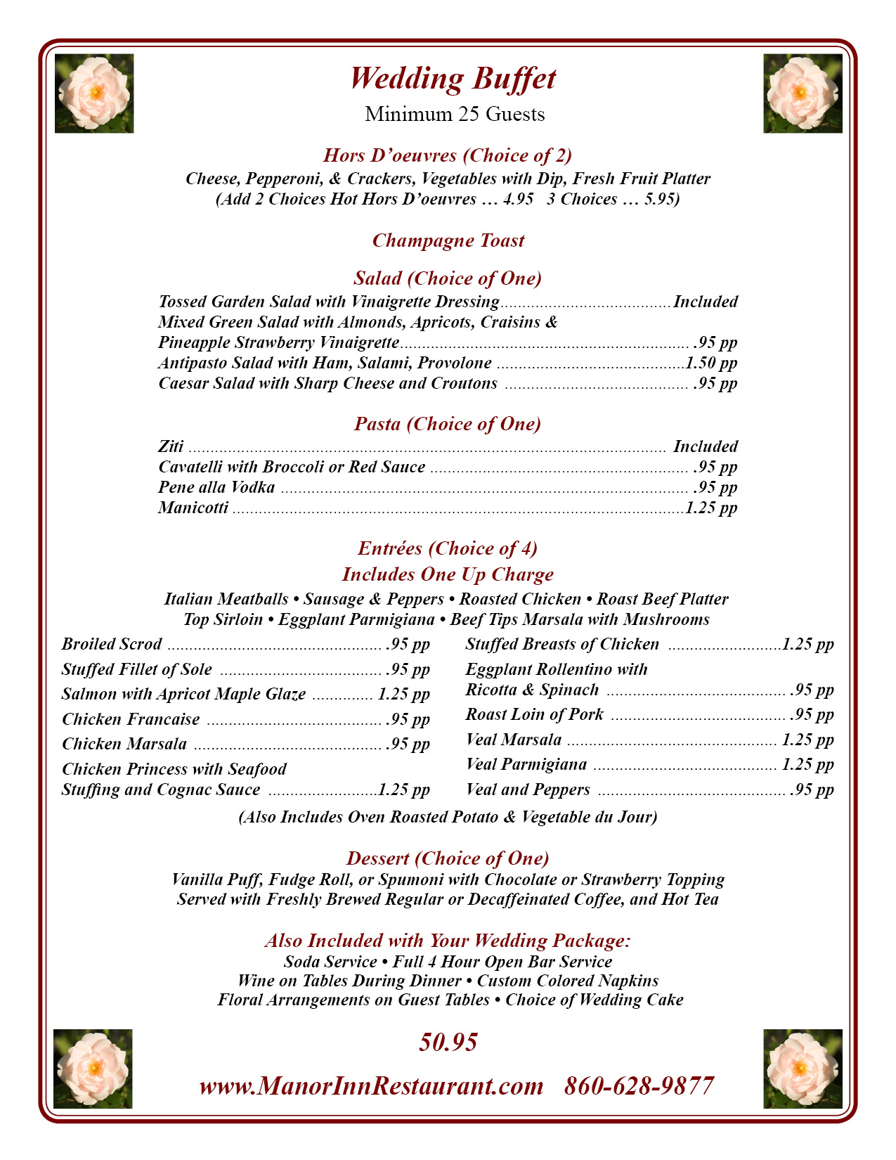 Manor Inn wedding buffet menu