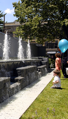 Danbury Library Plaza fountain part of outdoor design by Didona Associates