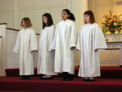 Young ladies in choir robes at Second Baptist Church