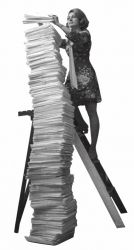 Woman with a tower of forms