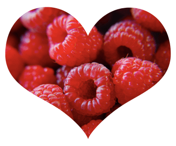 Raspberries in Heart