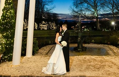 Photo of a bride and groom outdoors at The Woodwinds in Branford