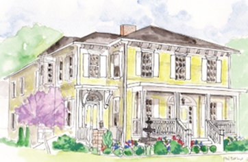 Illustration of the Tiffany Juliet House in historic Glastonbury