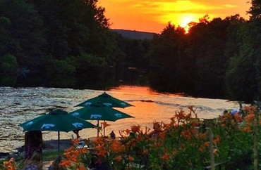 A delightful sunset at Apricots on the Farmington River