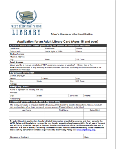 Library Card Application