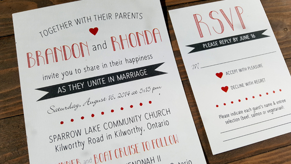 modern red and grey wedding invitation