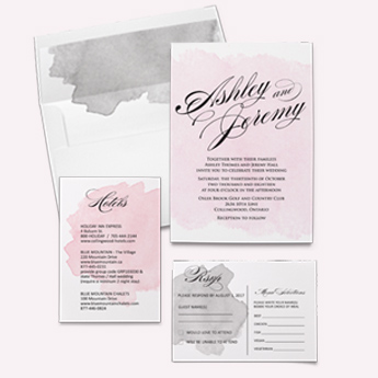 Shop pink and grey watercolour invitation suite with rsvp card, map card