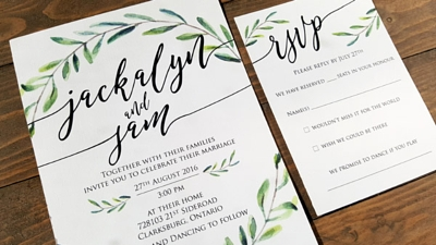 rustic, board board wedding invitation and map, barrie ontario