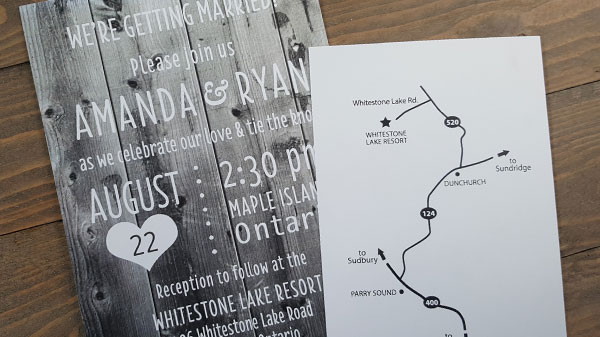 rustic, board board wedding invitation and map