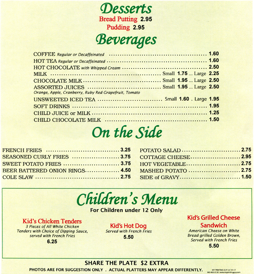 Desserts, beverages, side dishes and kids menu at Marys Diner and Marys Diner II in Waterbury