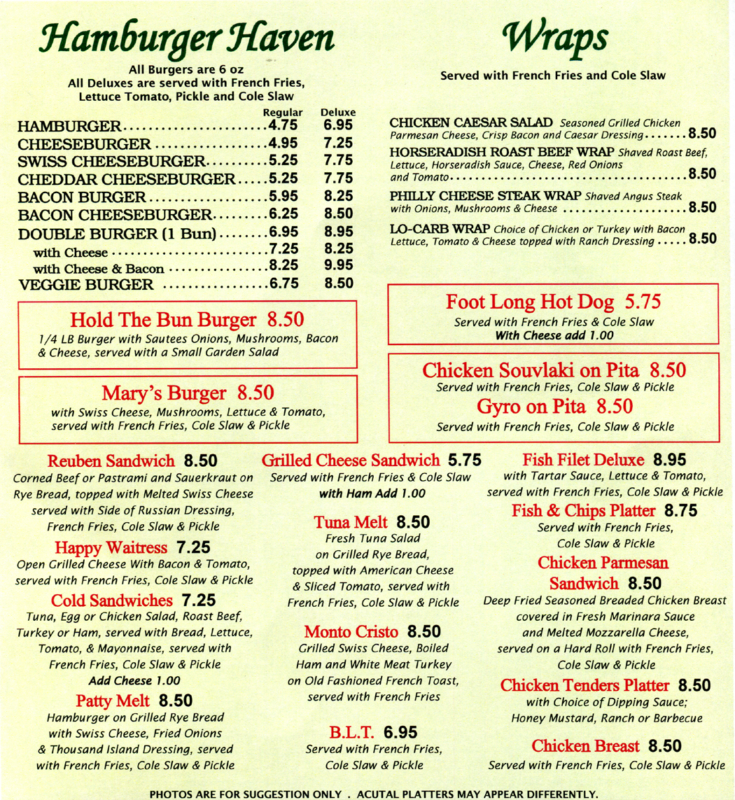 Look at all the hamburgers and sandwiches on the menu at Marys Diner & Marys Diner II!