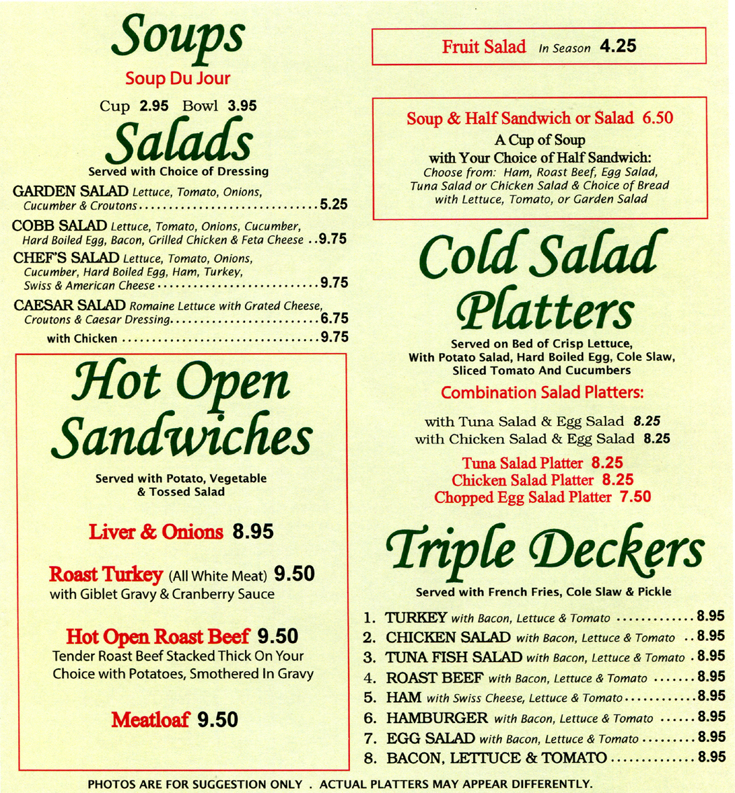 Begin looking at Marys Diner lunch menu here
