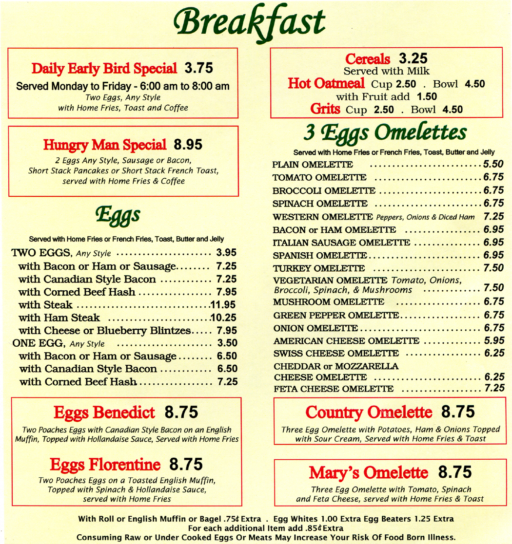 Omelettes and other breakfast favorites at Marys Diner and Marys Diner II in Waterbury, CT