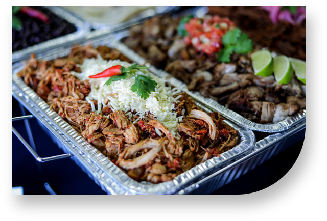 catering, tacos, tinga, chicken, carnitas, lemon, coriander, tomato, onion, salsa, cheese, chili, pepper, red, trays, aluminum, table, santo, pecado, mexican, toronto, canada