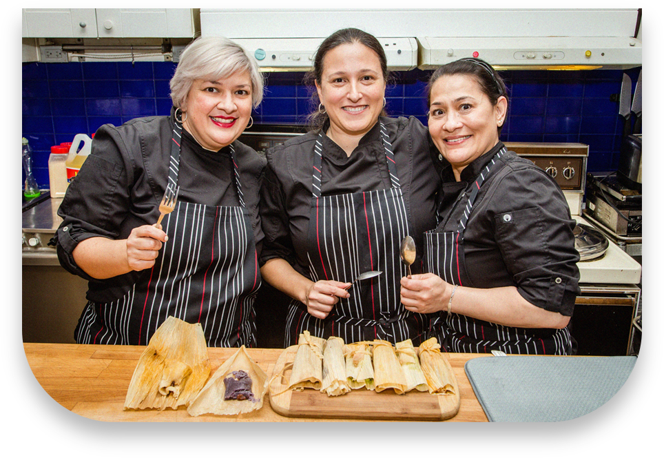 paola, solorzano, adriana, pelayo, apron, kitchen, tamales, cutting, board, spoon, fork, corn, leaf, spice, table, women, santo, pecado, mexican, catering, toronto, canada