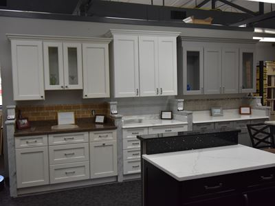 White cabinets with matching counters