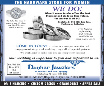 Free wedding ring advice at Dunbar Jewelers in Vernon