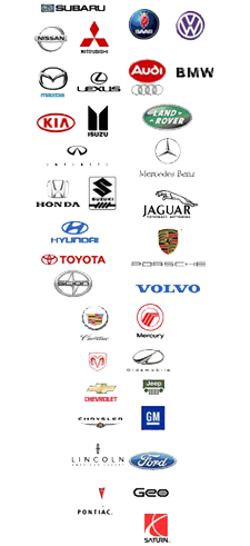 Logos of many makes and models of cars