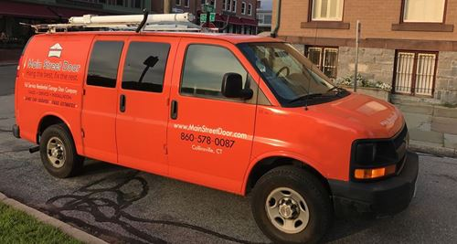 Main Street Door company van ready to head to Litchfield to solve your garage door problems