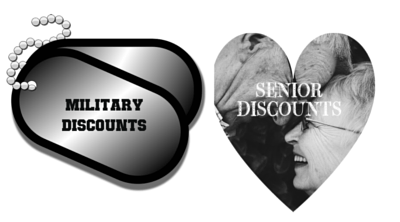 main street door offering military and senior discounts