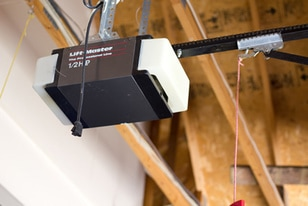 A LiftMaster motor inside a garage