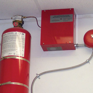 Fire suppressant equipment linked to fire alarm