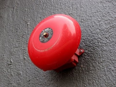 Round red fire alarm