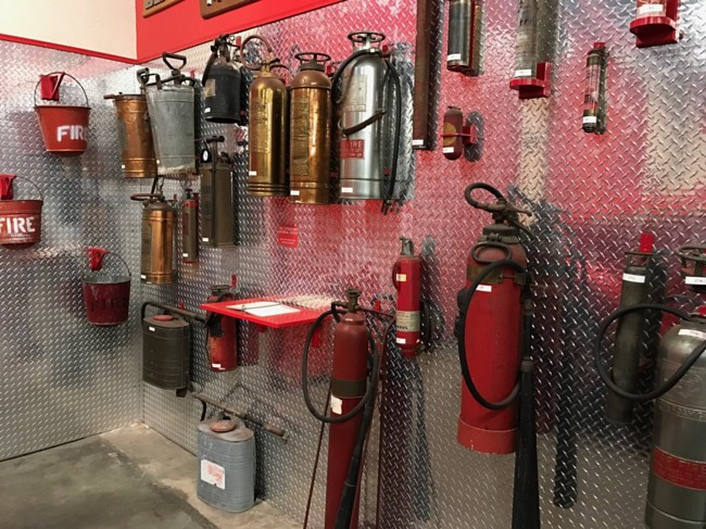 An assortment of fire extinguishers