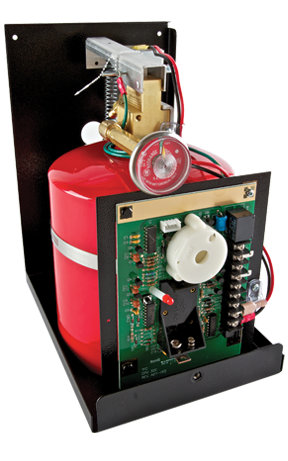 Example of a kitchen fire suppression system for residential kitchens